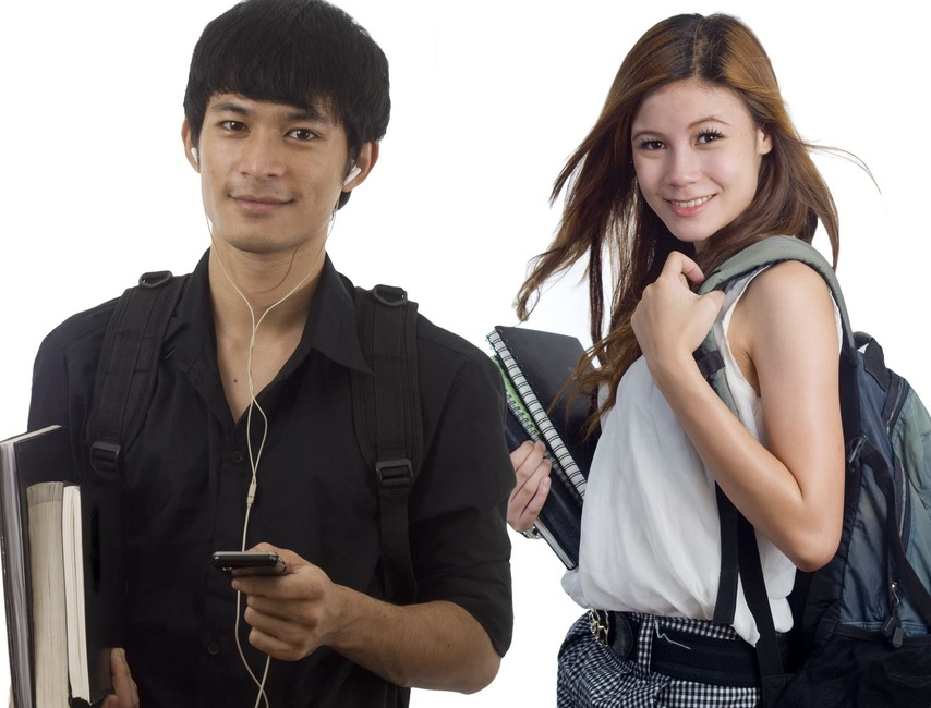 Asian boy headphones plus girl